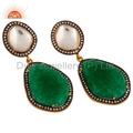 CZ Green Aventurine Gemstone Stud Earring Jewelry
