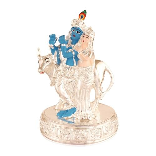 Symbol Lord Krishna Beloved Goddess Radha With Cow Brass Statue