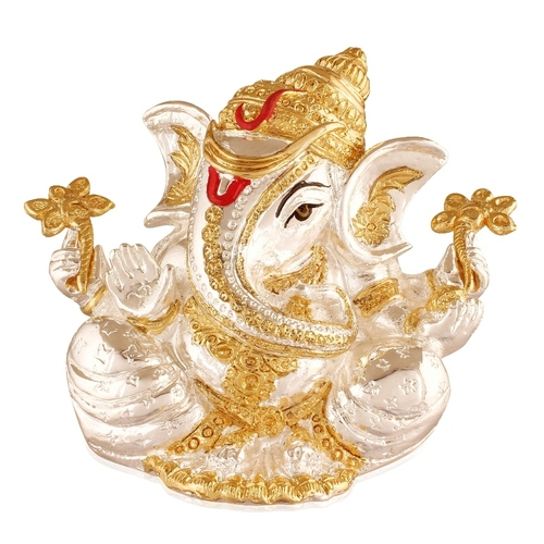 Lord Ganesha  With White Diamond  Idol Statue For Home Temple