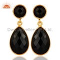 Sterling Silver Gold Plated Black Onyx Gemstone Earrings