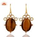 Tiger Eye Gemstone Fashion Earrings Jewelry