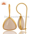Gold Over Sterling Silver Rose Chalcedony Earrings