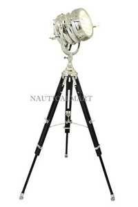 Beautiful Heavy Duty Tripod Floor Lamp Antique Search Light With Wooden Stand