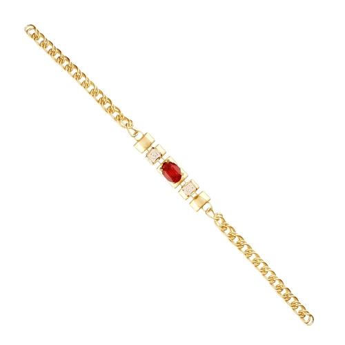 Single Line Red Stone Beautiful Bracelet For Women