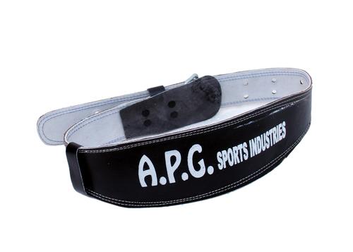 APG Leather Gym Belt Steel Roller Buckle Foam Padded Black