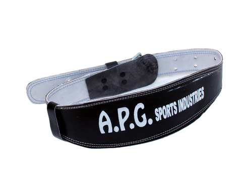 APG Leather Gym Belt Steel Roller Buckle Foam Padded Black
