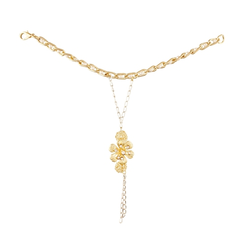 Party Style Diva Golden Flowers With Ring Hand Chain for Women