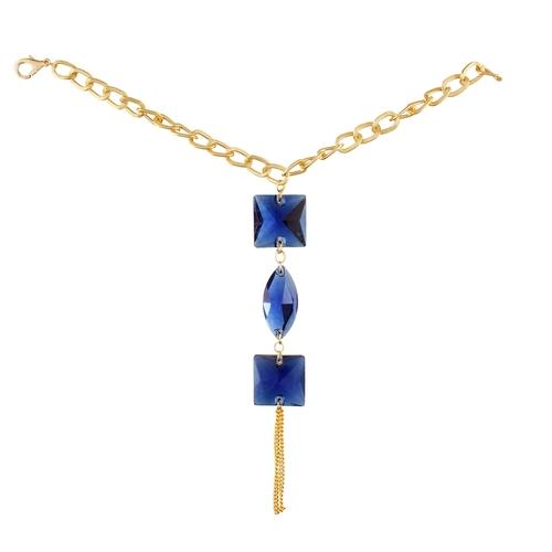 Blue DiamondRing Bangle Slave Chain Gold Pleated Bracelet For Women