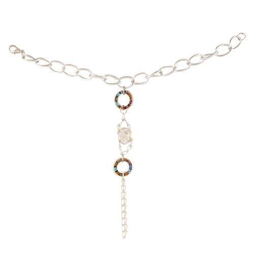 Fusion MulticoloredAmerican Diamond Finger Ring Bangle Slave Chain SilverPleated Bracelet