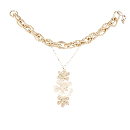 Party Style Silver Pleated Golden Flowers With Ring Hand Chain for Women
