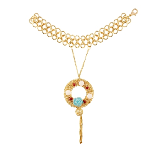 Floral Blue Rose Golden Bracelet For Women