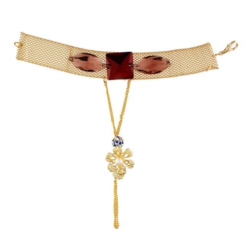 New Red Diamond Golden Flower Bracelet For Women
