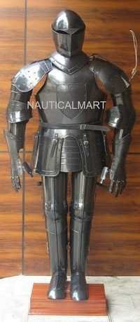 Full Size Medieval Knight Wearable Black Suit Of Armor