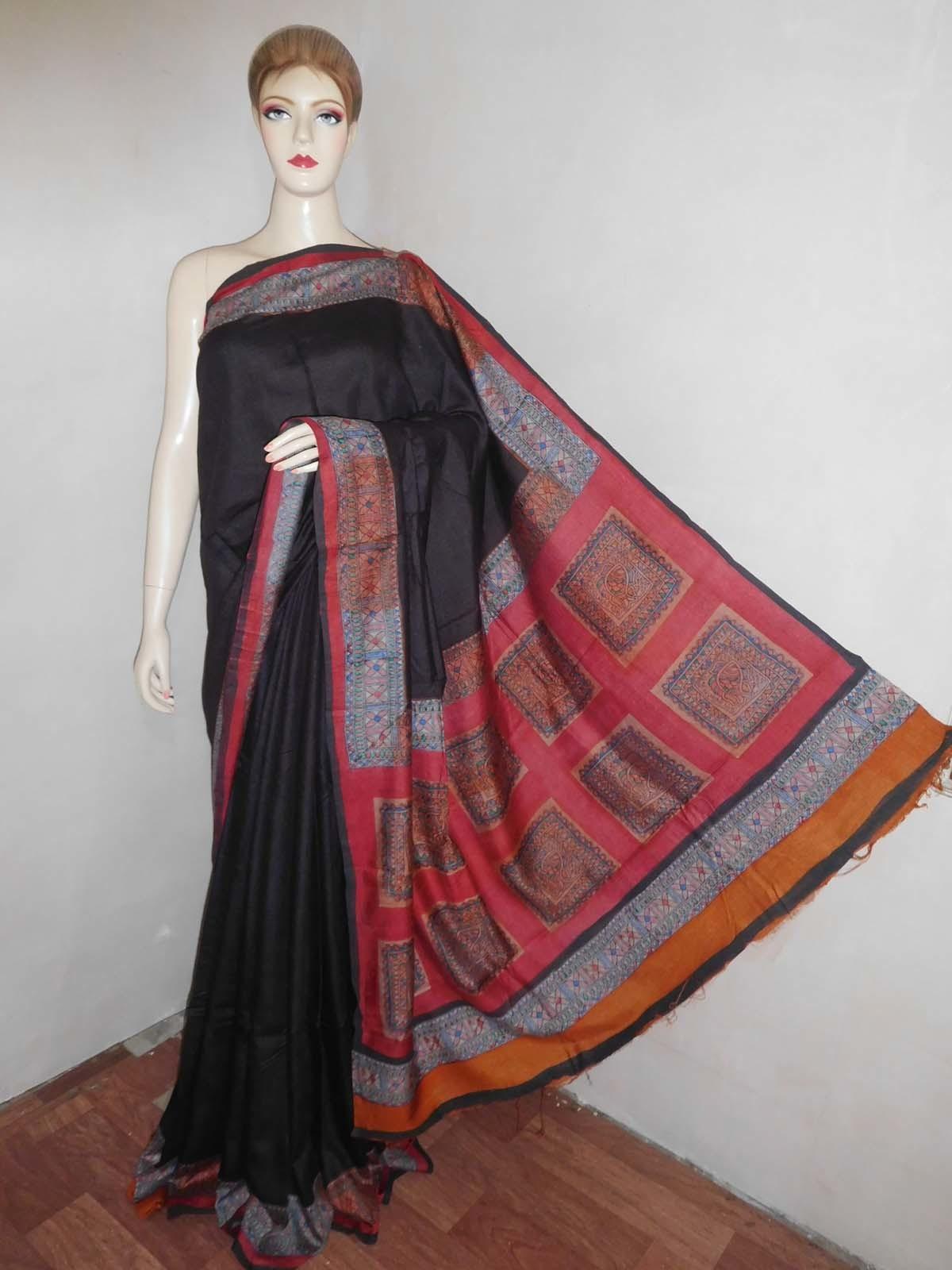Tussar Muga Madhubani Print Saree
