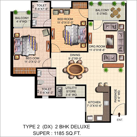 2 BHK House Map Drawing