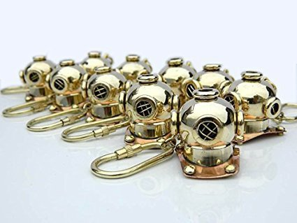 Solid Brass Diving Divers Helmet Key Chain Set Of 10