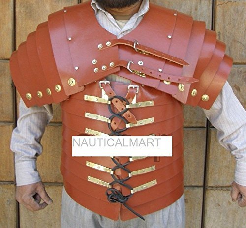 Roman Brown Leather Lorica Segment Halloween Costume