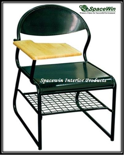 Writing Pad Chair with Bookshelf