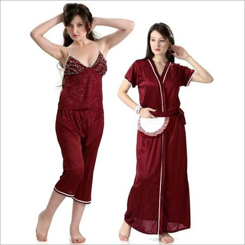 Hot N Sweet 9010 Maroon Three Pcs Nightwear