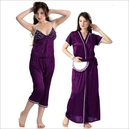 Hot N Sweet Beautiful 9010 A Wine Three Pcs Nighty