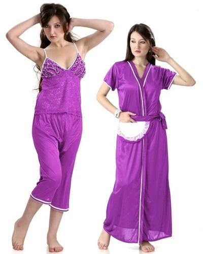 Hot N Sweet Beautiful 9010 C Purple Three Pcs Nighty