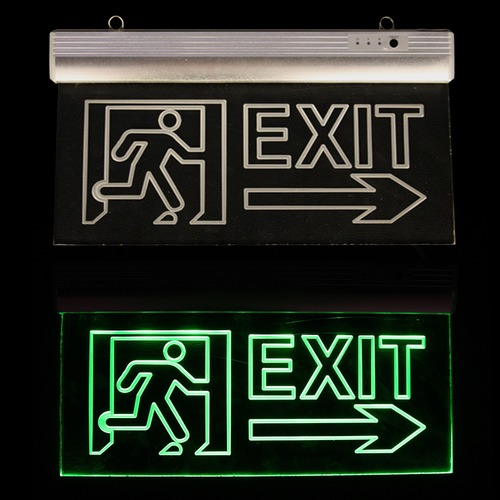 Glass Emergency Exit Signs