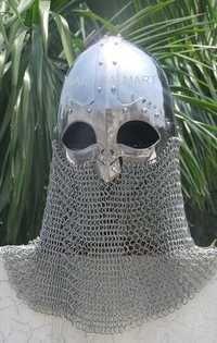 Viking Helmet Battle Armor 18G Steel and Chainmail