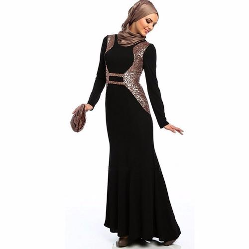 Dubai Arabic Abaya With Gold Sequin Embroidery