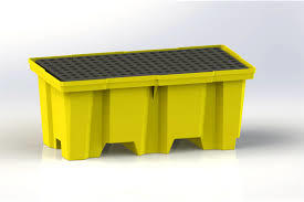 E5222-YE-D 2 Nestable 2-Drum Poly-Spillpallet