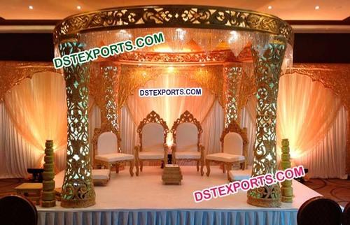 Fiber Designer Carved Pillars Wedding Mandap