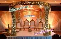 Fiber Designer Carved Pillars Wedding Mandap