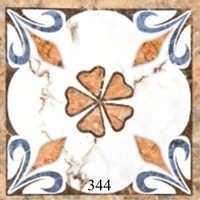 Flower Pattern White Orange Glossy Floor Tiles