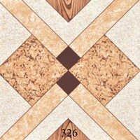Ivory Orange Pattern Glossy Floor Tiles