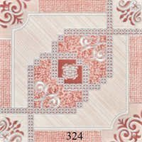 Ivory Pink Pattern Glossy Floor Tiles