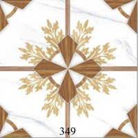 White Brown Printed Glossy Floor Tiles