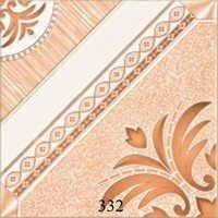 White Orange Flower Glossy Floor Tiles