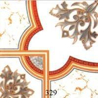 White Orange Glossy Floor Tiles