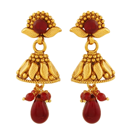 Antique Gold plated with Hanging American Diamond Jhumki   Earrings