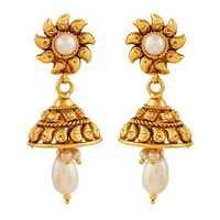 Copper Antique Royal White  Pearl Dangling Jhumki Earrings