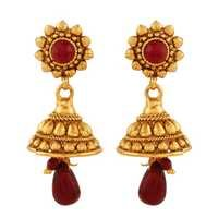 Antique Royal Red American Diamond Jhumki Earrings