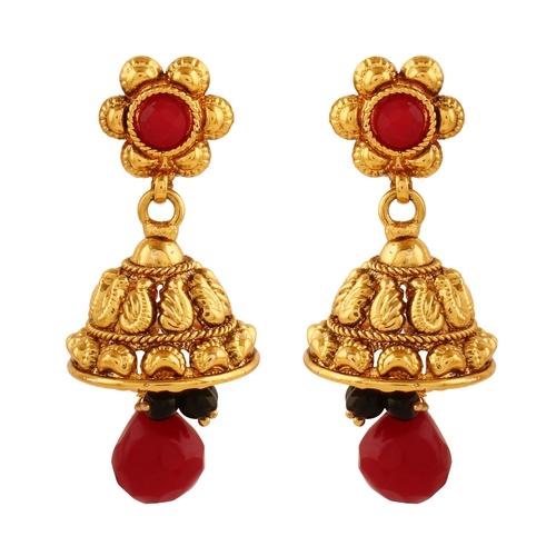 Gxtrem  Copper Antique Royal Pearl Dangling Jhumki Earrings