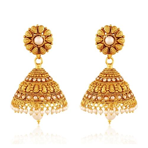 Copper Antique Royal American Diamond Pearl Jhumki Earrings