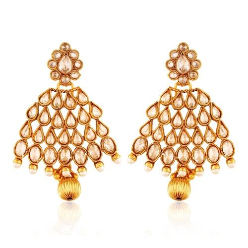 Copper Antique Royal American Diamond Droplet Leaf Dangling Earrings