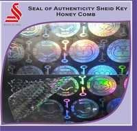 Holographic Seal Of Authenticity Shield Key Honey Comb Hologram Label