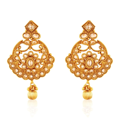 Copper Antique Royal American Diamond Dangling Earrings