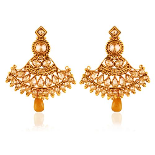 Copper Antique Royal American Diamond Dangling Earrings
