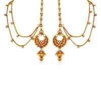 Rajwadi Copper Antique Gold ChandBali Earrings With Hair Chain