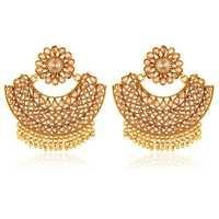 Copper Antique Rajwadi Chadelier American Diamond Earrings