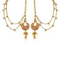 AccessHer Rajwadi Copper Antique Gold ChandBali Earrings With Hair Chain