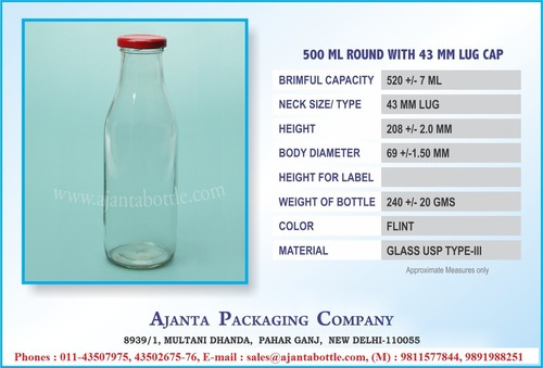 500 ML Round with 43 MM LUG Bottle Cap